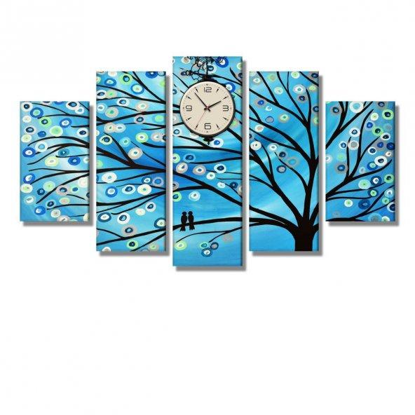5 Parçalı Kanvas Tablo - halka çiçekli ağaç saatli tablolar