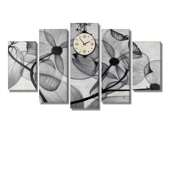 5 Parçalı Kanvas Tablo - siyah beyaz çiçek resimli saatli tablolar BÜYÜK BOY