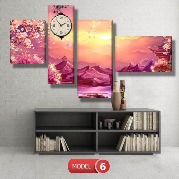 manzara-Japon bahçesi tabloları- saatli kanvas tablo MODEL 1 - 162x75 cm