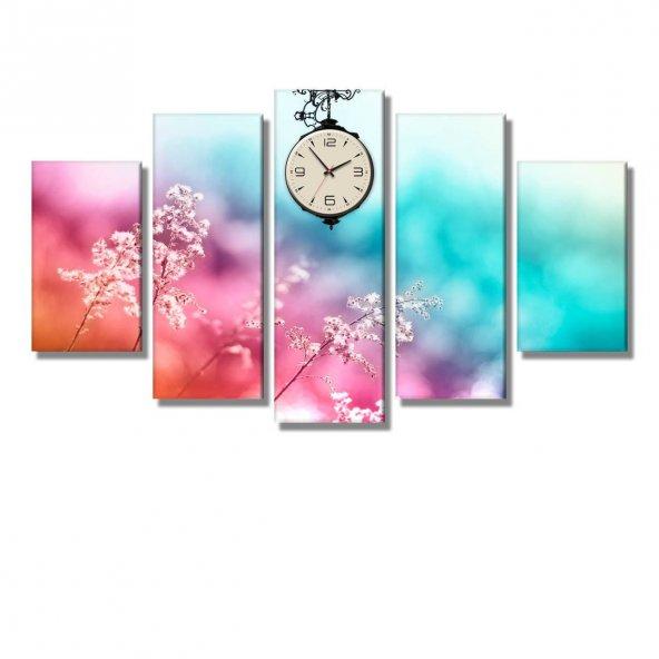 5 Parçalı Kanvas Tablo - pembe-turkuaz zeminli çiçekli  saatli tablolar ORTA BOY