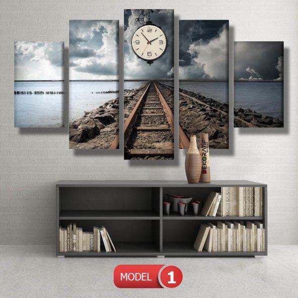 tren yolu -dekor tablo- saatli kanvas tablo MODEL 3 - 126x60 cm