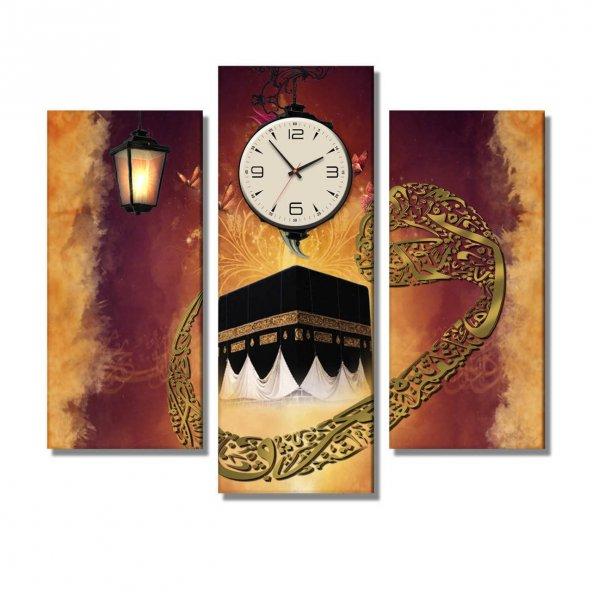 3 Parçalı Saatli Kanvas Tablo -kabe -vav dini  saatli kanvas  tablolar
