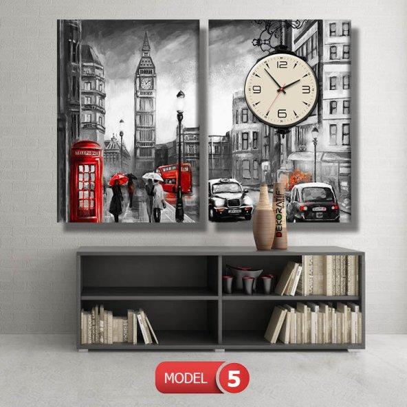 siyah-beyaz londra tablosu- saatli kanvas tablo MODEL 2 - 129x75 cm