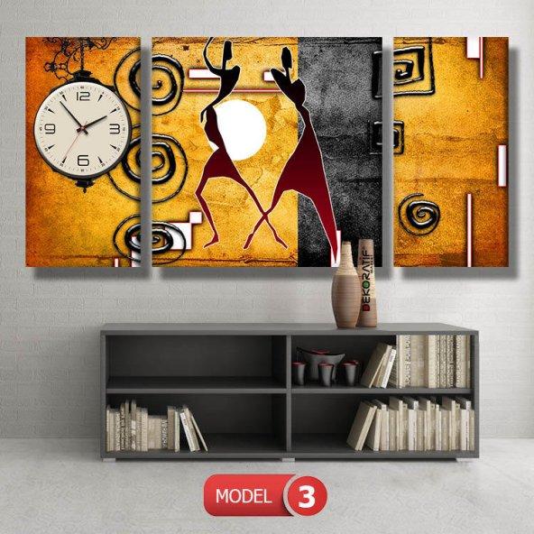 soyut-sarı-siyah-afrika tabloları- saatli kanvas tablo MODEL 3 - 126x60 cm