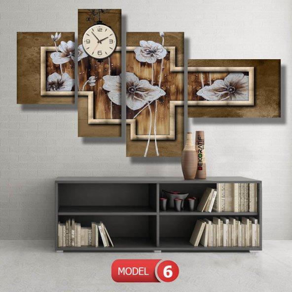 kahverengi-yenta model tablolar- saatli kanvas tablo MODEL 3 - 126x60 cm