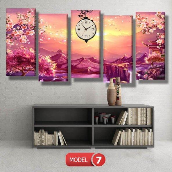 Japon bahçesi tabloları- saatli kanvas tablo MODEL 3 - 126x60 cm