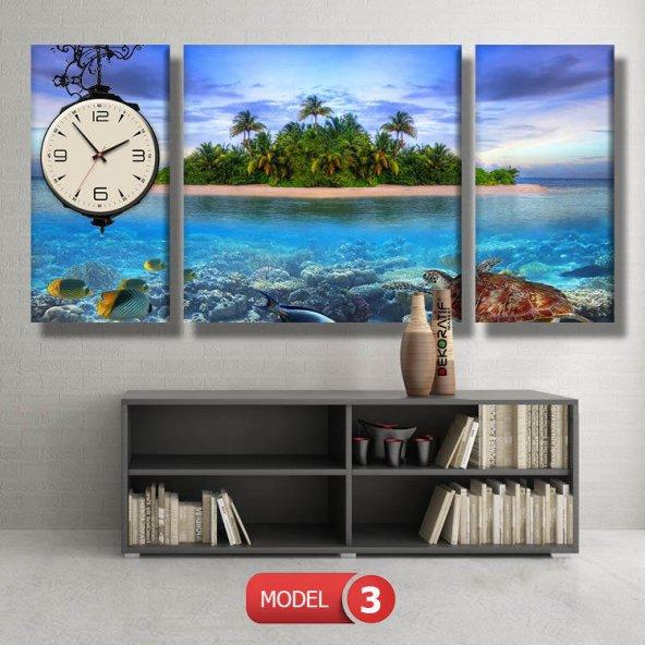 balıklı ada-manzara tabloları- saatli kanvas tablo MODEL 8 - 123x60 cm