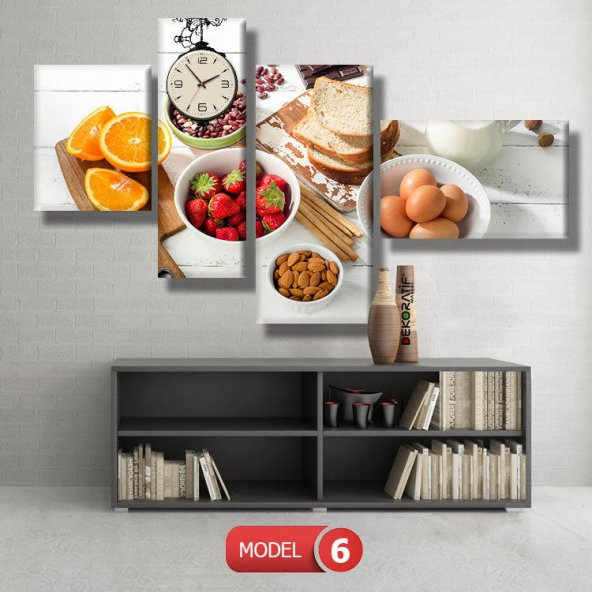 mutfak tabloları- saatli kanvas tablo MODEL 3 - 126x60 cm