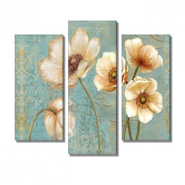 3 Parçalı  Kanvas Tablo -krem bej çiçekler  kanvas tablosu KÜÇÜK BOY