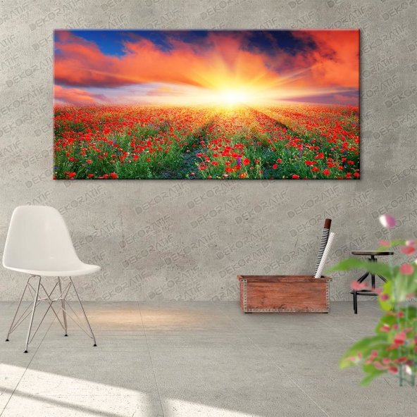 Gün Batımı-Çiçek Tarlası Kanvas Tablo 40 cm x 80 cm