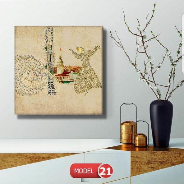 kare tuğra kızkulesi semazen tabloları 25 cm x 25 cm