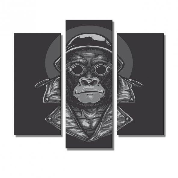 3 Parçalı  Kanvas Tablo -goril resimli   kanvas tablosu