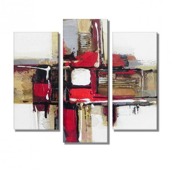 3 Parçalı  Kanvas Tablo -soyut kanvas tablolar BÜYÜK BOY