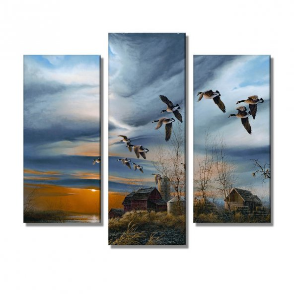 3 Parçalı  Kanvas Tablo -doğa manzara kanvas tablosu
