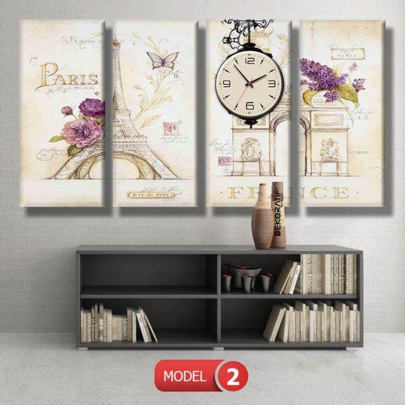 paris-şanzelize tabloları- saatli kanvas tablo MODEL 1 - 162x75 cm