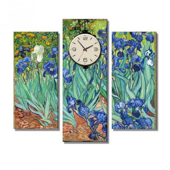 Van Gogh - Irises Sümbüller- 3 Parçalı Saatli Tablo