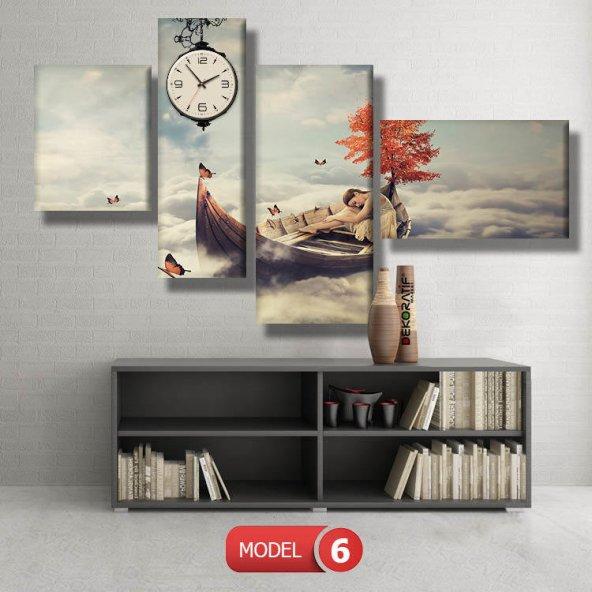 kayıktaki kız-bulutların üstünde tablolar- saatli kanvas tablo MODEL 3 - 126x60 cm