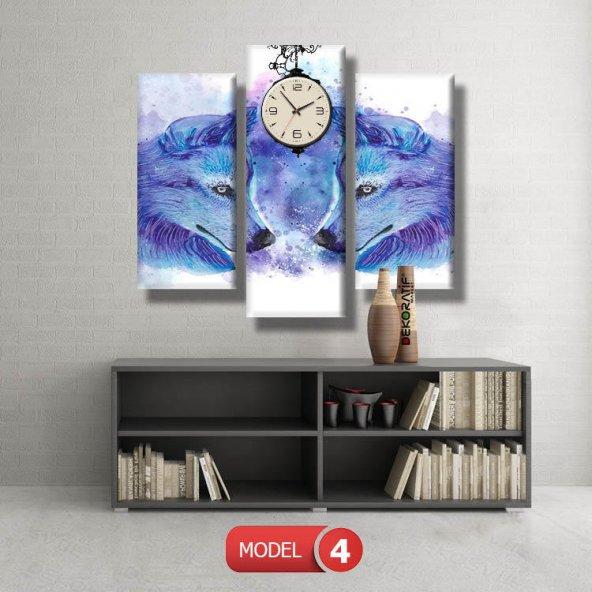 kurt tabloları- saatli kanvas tablo MODEL 6 - 184x107 cm