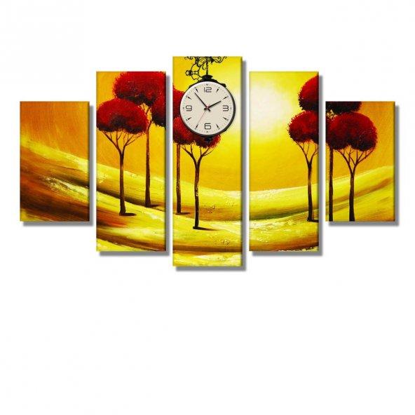 5 Parçalı Kanvas Tablo -kırmızı ağaçlar  saatli kanvas tablosu ORTA BOY
