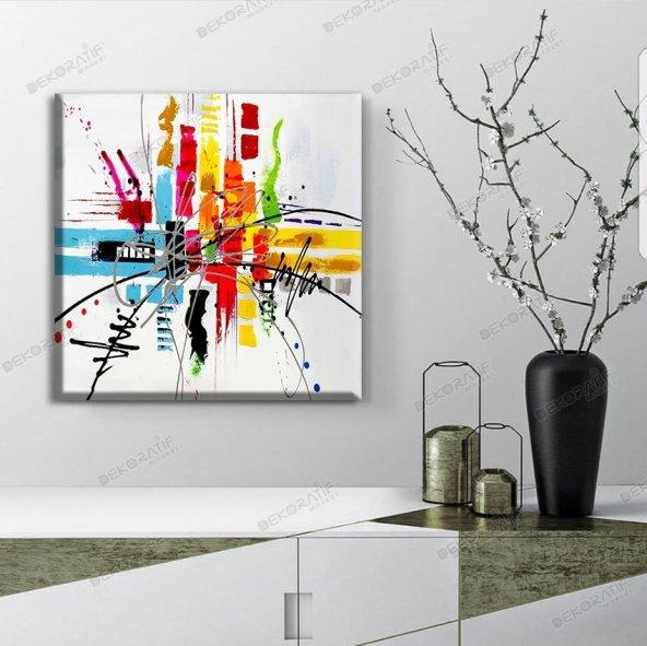 soyut renkli kanvas tablolar 40 cm x 40 cm