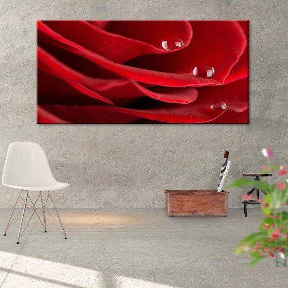 Su Damlacıklı Gül Resimli Kanvas Tablo 70 cm x 140 cm