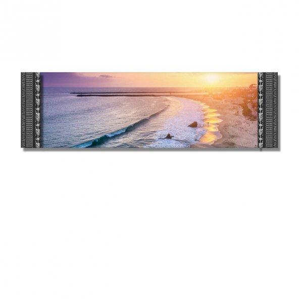 5 cm Kabartma Çerçeveli Duvar Saati-Günbatımı Sahil   Kanvas Tablo