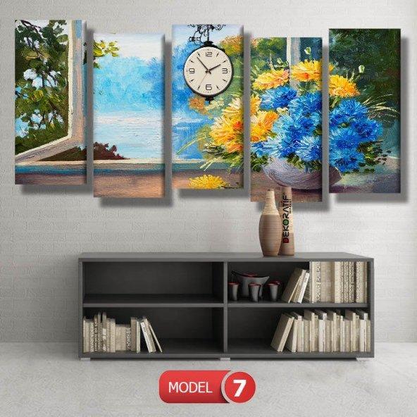 cam kenarı sarı-mavi çiçekler tablosu- saatli kanvas tablo MODEL 3 - 126x60 cm