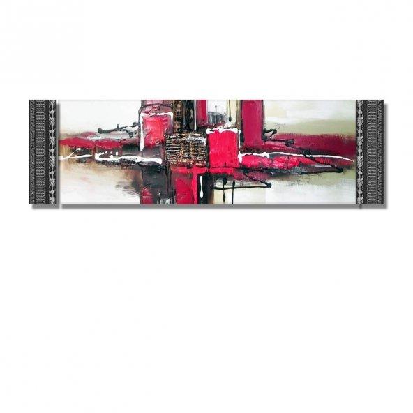 5 cm Kabartma Çerçeveli Duvar Saati-Soyut   Kanvas Tablo 116 x 35 cm