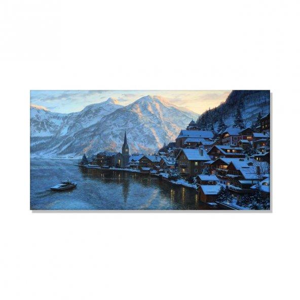 Led Işıklı Kış Manzarası  Tabloları 60 cm x 120 cm