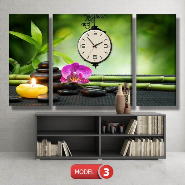 mumlu-spa tablolar- saatli kanvas tablo MODEL 7 - 162x75 cm