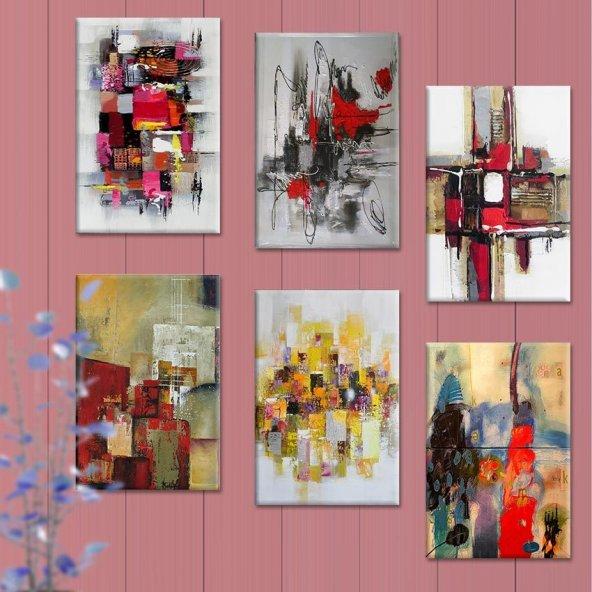 6 Parçalı Tablo Set - Soyut Tablolar 50x70 cm 6lı Set