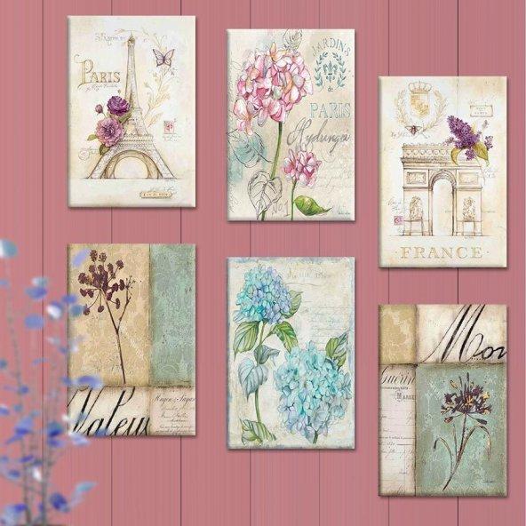 6 Parçalı Tablo Set - Çiçekli Tablolar
