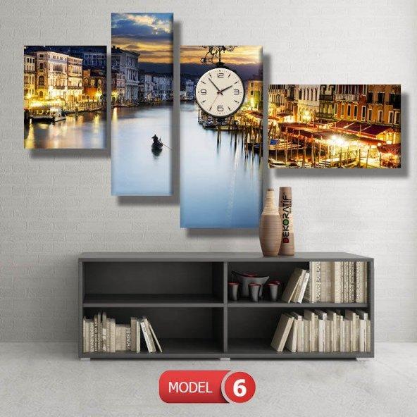 venedik-şehir tabloları- saatli kanvas tablo MODEL 8 - 123x60 cm
