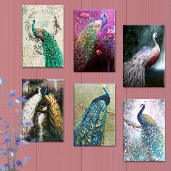 6 Parçalı Tablo Set - Tavus Kuşu Tabloları 60x90 cm 6lı Set