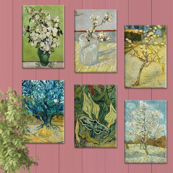 6 Parçalı Tablo Set - Van Gogh Başyapıt Tabloları 60x90 cm 6lı Set