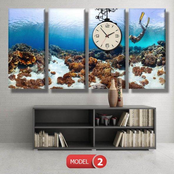 dalgıç-denizaltı tabloları- saatli kanvas tablo MODEL 2 - 129x75 cm