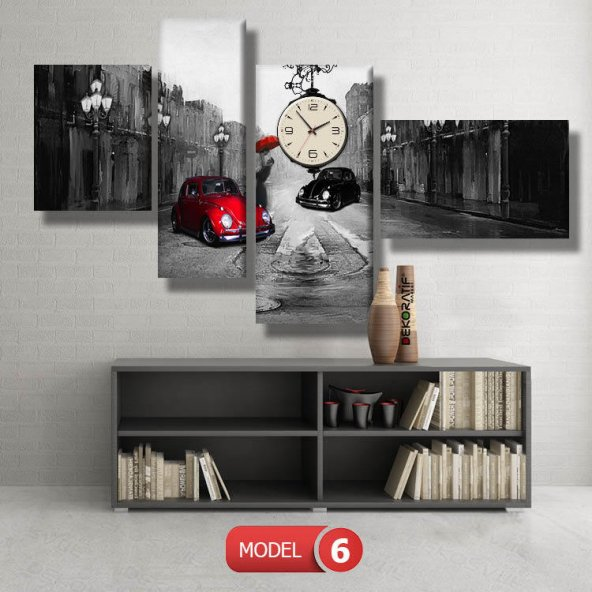 kırmızı-siyah vosvoslar tablosu- saatli kanvas tablo MODEL 1 - 162x75 cm