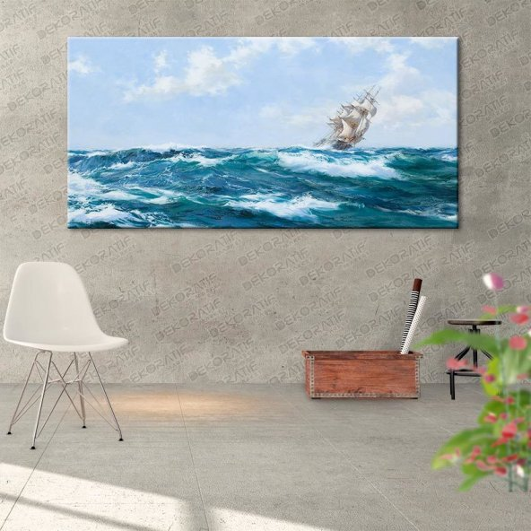 Deniz Manzaralı Gemili Duvar Tablosu