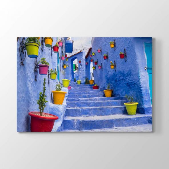 Sokakta Renkli Saksılar Tablosu 100x70 cm