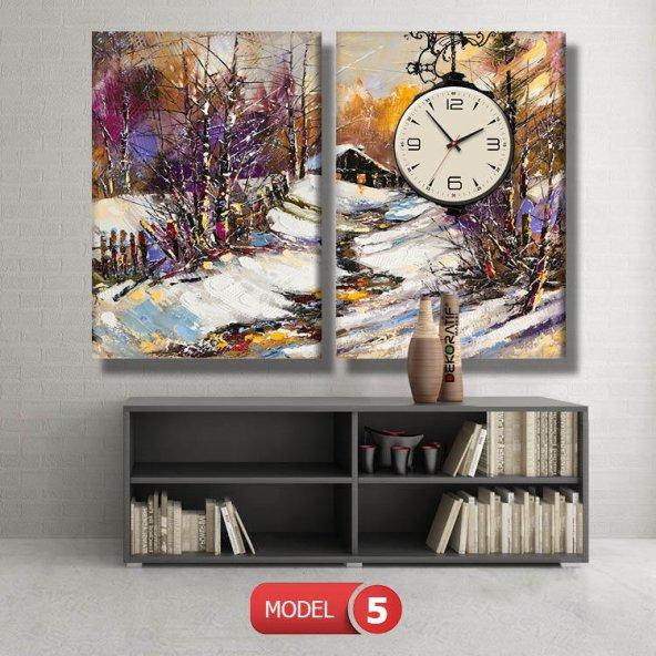 karlı ev tablosu- saatli kanvas tablo MODEL 7 - 162x75 cm