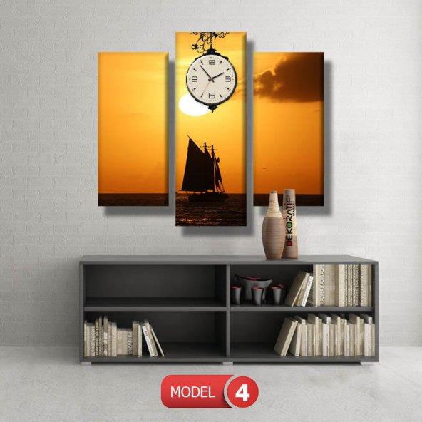 tekne-gün batımı tabloları- saatli kanvas tablo MODEL 4 - 96x90 cm