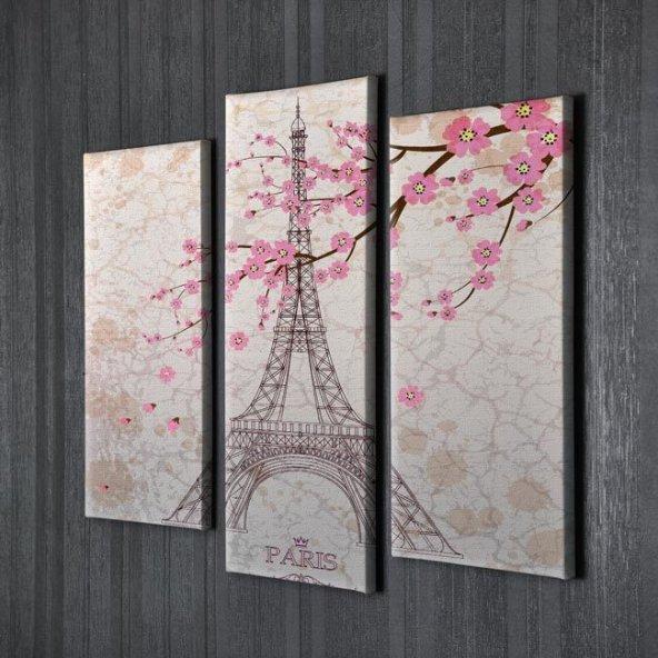 3 Parçalı Kanvas Tablolar - İlkbahar Eyfel Kulesi Manzarası  Duvar Tablosu BÜYÜK BOY