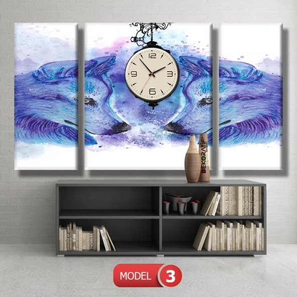kurt tabloları- saatli kanvas tablo MODEL 7 - 162x75 cm