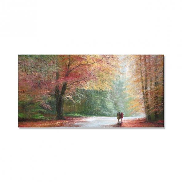 ağaçlı yol yürüyüş   kanvas tablosu 70 cm x 140 cm
