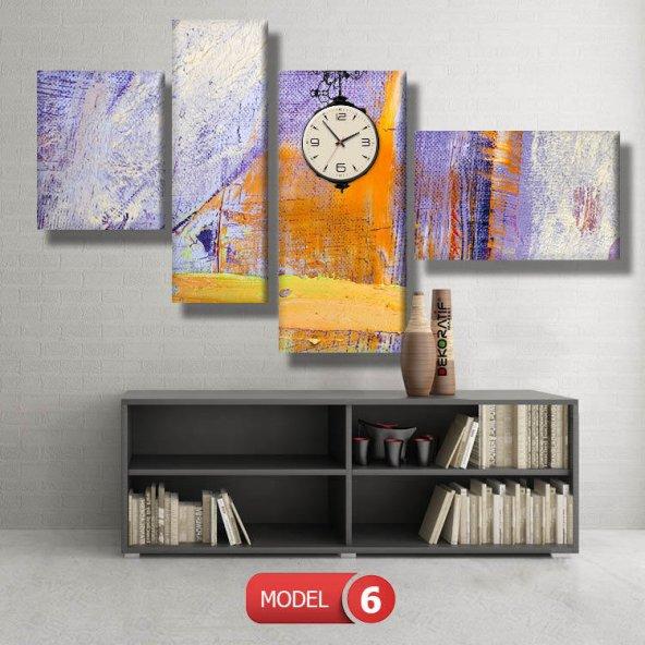 lila-soyut tablolar- saatli kanvas tablo MODEL 1 - 162x75 cm