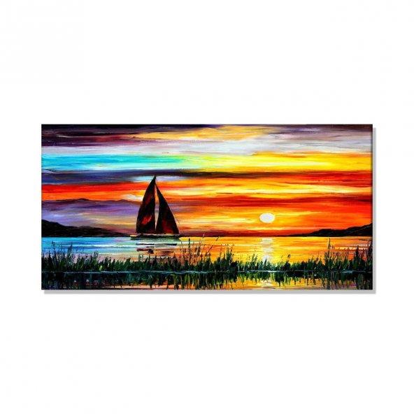 yağlı boya görünümlü renkli gökyüzü kanvas tablosu 70 cm x 140 cm