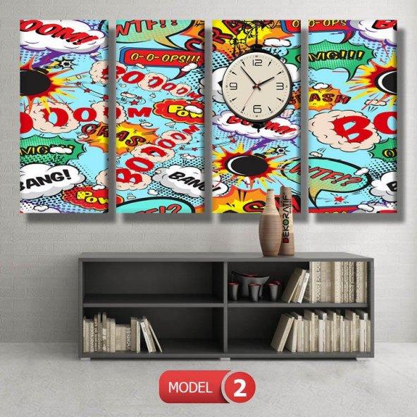 pop-art tablolar- saatli kanvas tablo MODEL 3 - 126x60 cm
