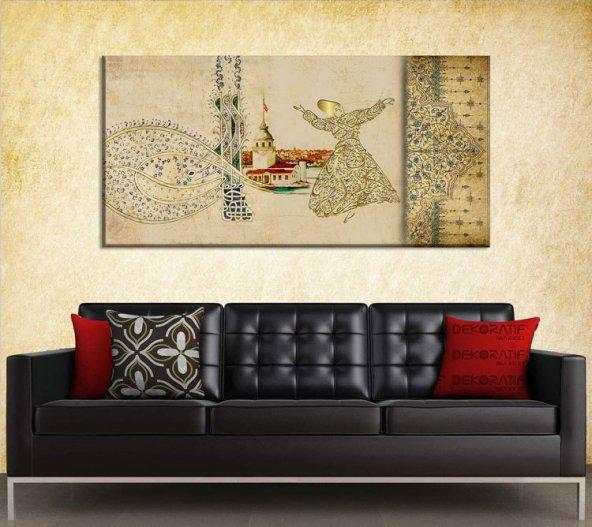 Tuğra-Kız Kulesi-Semazen Motifli Duvar Tablosu 60 cm x 120 cm