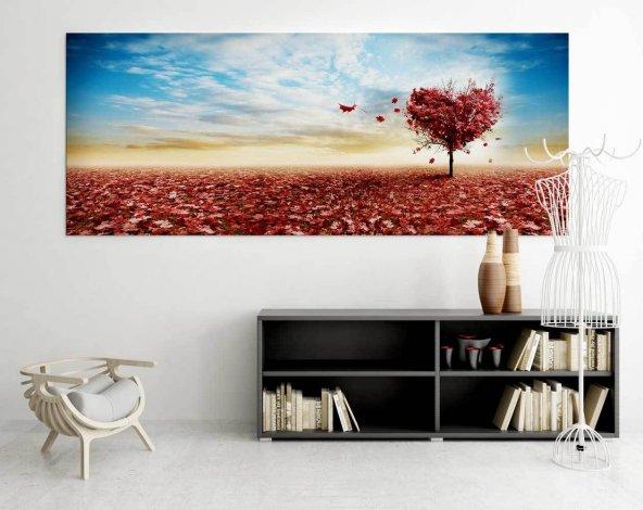 Ağaçlı-Kalp Motifli Kanvas Tablo 50 cm x 100 cm