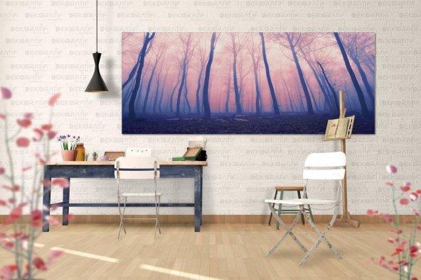 Ormanlı-Sonbahar Temalı Duvar Tablosu 80 cm x 160 cm